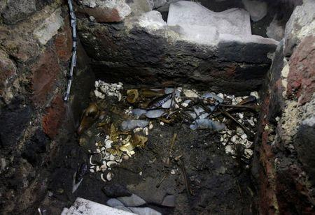 A view shows a site where a sacrificed young wolf elaborately adorned with some of the finest Aztec gold has been discovered adjacent to the Templo Mayor, one of the main Aztec temples, in Mexico City, Mexico June 22, 2017. Picture taken June 22, 2017. REUTERS/Henry Romero