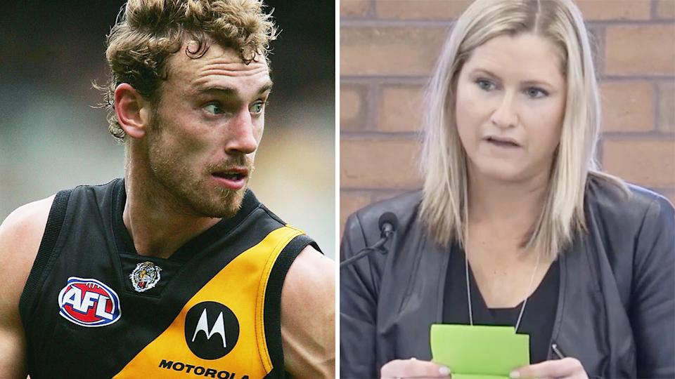 A 50-50 split image shows Shane Tuck playing for Richmond in 2005, and Katherine Tuck speaking at his funeral on the right.
