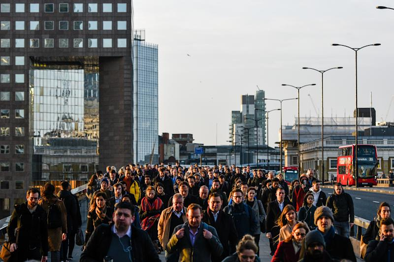 LONDON, ENGLAND - FEBRUARY 03: Commuters walk across London Bridge on February 3, 2020 in London, England. People returned to work today, Monday, after Britain's departure from the European Union last Friday, 31st January. (Photo by Peter Summers/Getty Images)