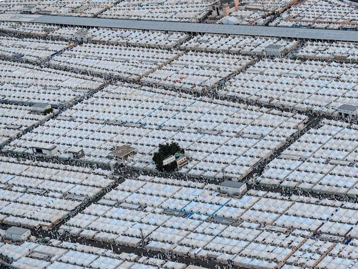An aerial view shows tents of Muslim pilgrims in Mina, near the holy city of Mecca, Saudi Arabia, on July 29, 2020.