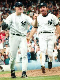Jim Abbott reacts to his 1993 no-hitter against the Cleveland Indians as New York Yankees teammate Wade Boggs joins the celebration