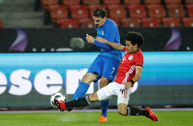 Soccer Football - International Friendly - Egypt vs Greece - Stadion Letzigrund, Zurich, Switzerland - March 27, 2018 Greece's Lazaros Christodoulopoulos in action with Egypt's Omar Gaber REUTERS/Arnd Wiegmann