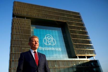 FILE PHOTO: Guido Kerkhoff, Chief Executive of Thyssenkrupp AG, poses before the annual news conference of Thyssenkrupp