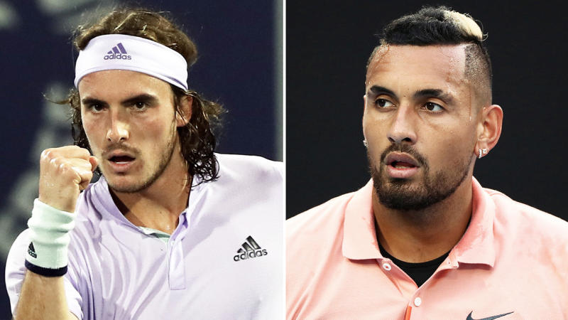 Stefanos Tsitsipas (pictured left) has hit back at Nick Kyrgios' (pictured right) claims about Team Europe and the Laver Cup. (Getty Images)