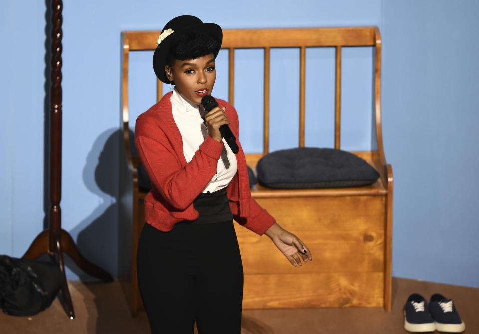 Janelle Monae performs onstage at the Oscars on Sunday, Feb. 9, 2020, at the Dolby Theatre in Los Angeles. (AP Photo/Chris Pizzello)