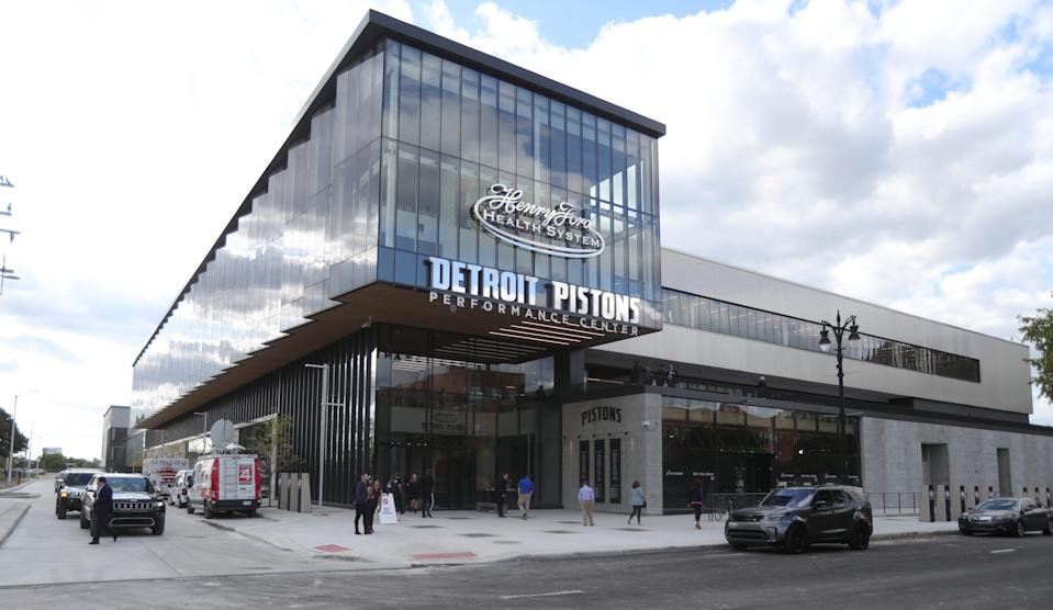 Exterior of the new Henry Ford Health System Detroit Pistons Performance Center in Detroit, Monday, Oct. 7, 2019.