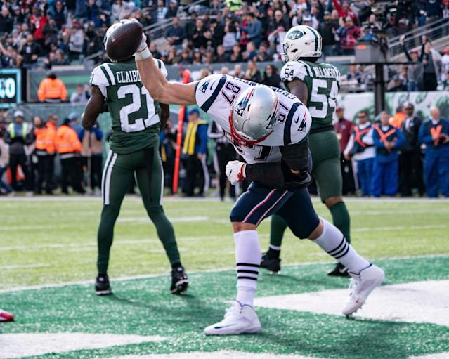 The Gronk Spike became a regular fixture for the Patriots during Rob Gronkowski's nine-year career with the Patriots. (Getty Images)