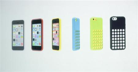 The five colors of the new iPhone 5C and the new case for the phone are seen at Apple Inc's media event in Cupertino, California September 10, 2013. REUTERS/Stephen Lam