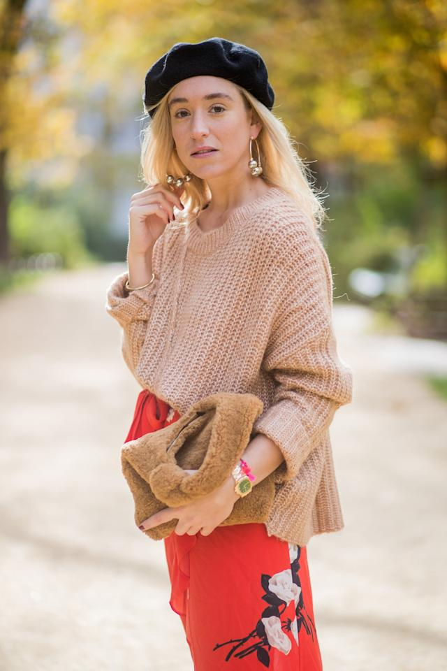 <p>Match your luxe neutral tones with a camel-colored shearling bag, worn at the same time as your most cozy camel knits.</p>