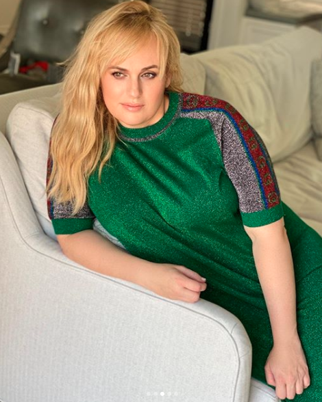 Rebel poses in transformation weight loss gucci photoshoot green dress