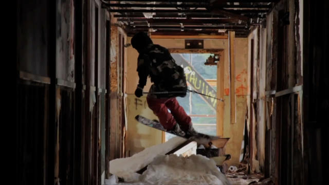 PIC FROM CATERS NEWS - (PICTURED; Logan Imlach skiing in the building) Most people prefer to ski on big snowy slopes, but as this jaw dropping video shows, Logan Imlach is no ordinary Skiier. Shot in Alaska by native Matt Wild, the two minute clip shows Logan skiing through a five floor tower block navigating the winding staircases and even jumping out of windows. Both Matt and Logan work in an oil field, where they work the same three week shift. SEE CATERS COPY.