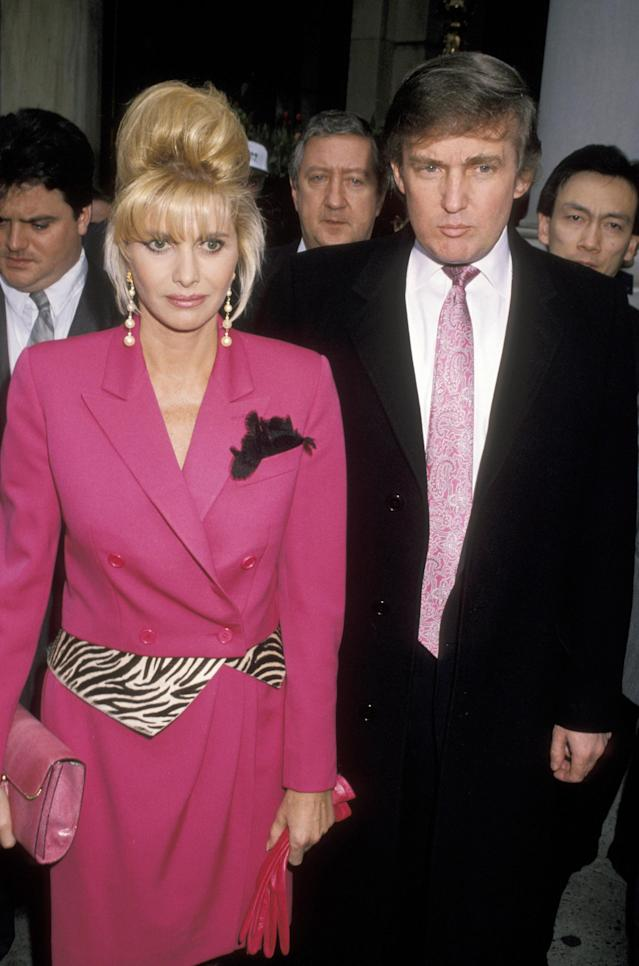 Ivana Trump wearing a hot-pink tuxedo dress. (Photo: Getty Images)