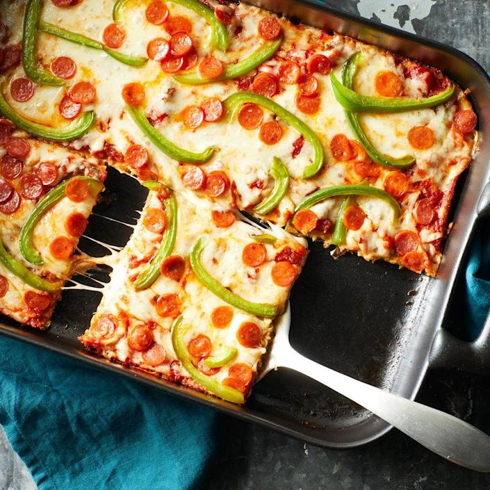 <p>Got a bumper crop of zucchini? Try this crowd-pleasing casserole-meets-pizza dish, which can easily be made gluten-free. A layer of tender shredded zucchini is topped with all the classics: sauce, cheese, pepperoni and sliced bell pepper. Experiment with your own favorite toppings, but make sure you don't overload the crust or it will be too wet.</p>
