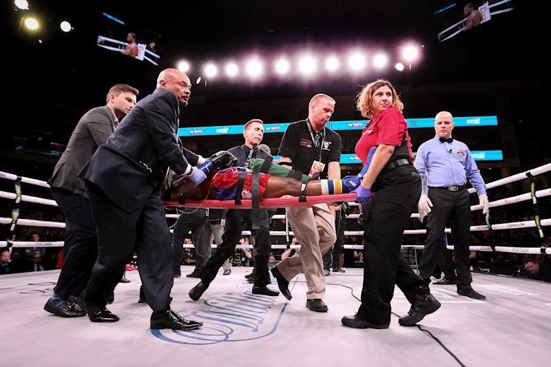 CHICAGO, ILLINOIS - OCTOBER 12: Patrick Day is taken out of the ring on a stretcher after being knocked out by Charles Conwell in the 10th round of their Super-Welterweight bout at Wintrust Arena on October 12, 2019 in Chicago, Illinois. (Photo by Dylan Buell/Getty Images)
