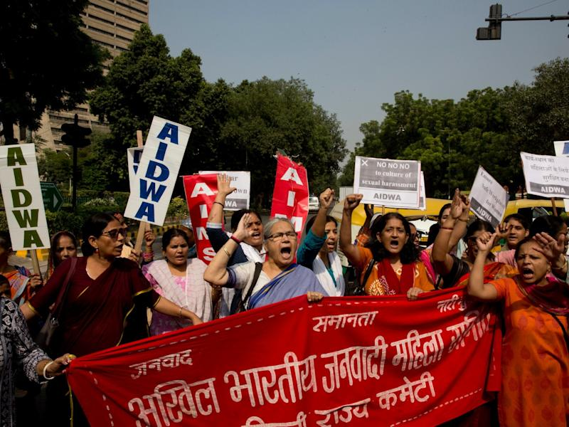 Indian women shout slogans during a protest against sexual harassment in the workplace in New Delhi: AP
