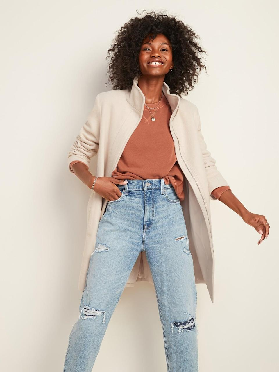 <p>The <span>Relaxed Soft-Brushed Funnel-Neck Coat </span> ($46, originally $75) has a high collar, which is great for keeping the wind out on chilly days.</p>