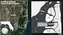 Map locating a 12-story oceanfront apartment block that partially collapsed near Miami, Florida