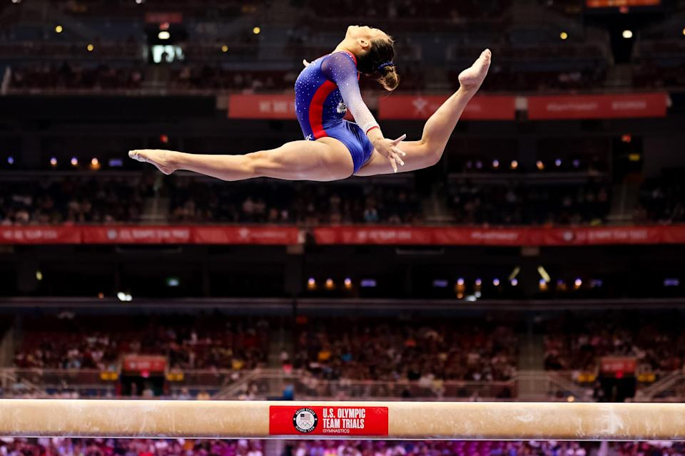 Sunisa Lee competes on beam during day 2 of the women's 2021 U.S. Gymnastics Olympic Trials on June 25, 2021, in St Louis, Missouri.