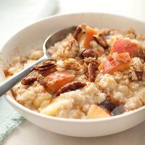 "<p>Infused with apples, this oatmeal has all the fall flavors you love most.</p><p>Get the recipe from <a href=""/cooking/recipe-ideas/recipes/a18449/oatmeal-apples-pecans-cinnamon-recipe-122828/"" data-ylk=""slk:Delish"" class=""link rapid-noclick-resp"">Delish</a>.</p>"