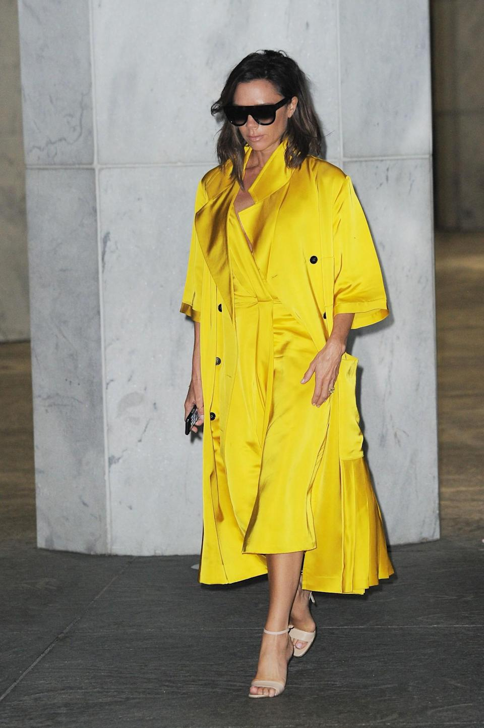 <p>Arguably one of VB's best looks of all time, this canary yellow look hit every headline. <em>[Photo: Getty]</em> </p>