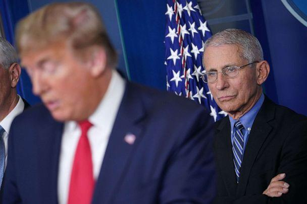 PHOTO: Director of the National Institute of Allergy and Infectious Diseases Anthony Fauci listens as President Donald Trump speaks during the daily briefing on the novel coronavirus at the White House, March 24, 2020, in Washington. (Mandel Ngan/AFP via Getty Images, FILE)