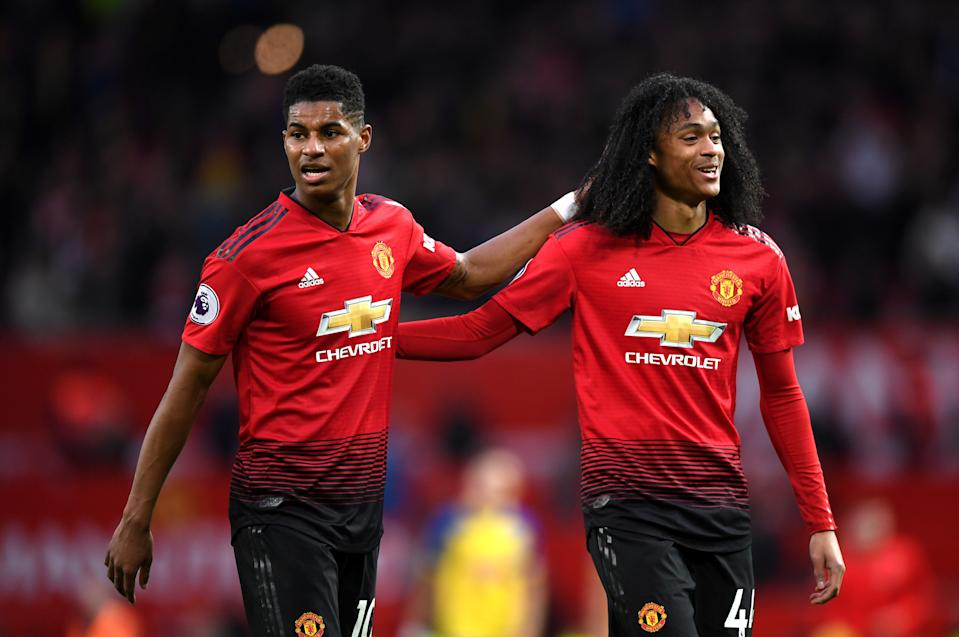MANCHESTER, ENGLAND - MARCH 02: Marcus Rashford of Manchster United  celebrates victory with Tahith Chong of Manchester United after the Premier League match between Manchester United and Southampton FC at Old Trafford on March 02, 2019 in Manchester, United Kingdom. (Photo by Shaun Botterill/Getty Images)