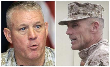 A combination photo shows U.S. Marine Corps Major General Gregg A. Sturdevant (R) in Afghanistan on November 22, 2012 and Major General Charles Gurganus in Iraq on May 13, 2007. REUTERS/Sabah Arar/Pool/Files (left image) and Sgt. Keonaona C. Paulo/U.S. Marine Corps/Handout via Reuters