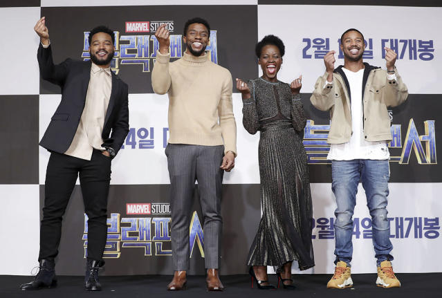 <p>The <em>Black Panther</em> cast and director (Coogler) looked ecstatic to be promoting their new film in Seoul, South Korea, on Monday. Looking good, guys! (Photo: Han Myung-Gu/Getty Images for Disney) </p>