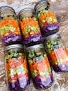 <p>For the past few months, I've been trying to eat more greens, so I don't add those to the mason jar - there wouldn't be any room for the other veggies! I found that keeping my greens separate helps them stay fresher longer, especially the delicate ones like spring mix or spinach. My salads stayed fresh for over seven days!</p> <p>You can buy the big containers of greens to make life easier, or if you prefer, you can prep big heads of lettuce or bunches of kale. Just wash the leaves, dry them using a salad spinner and dish towels, and place them in a big container with a few sheets of paper towel to absorb any excess moisture.</p>