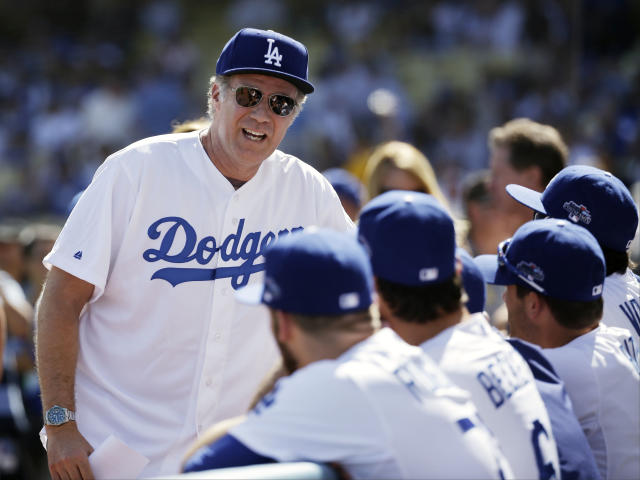 Actor Will Ferrell talks to some Los Angeles Dodgers players before Game 5 of the National League baseball championship series against the St. Louis Cardinals, Wednesday, Oct. 16, 2013, in Los Angeles. (AP Photo/David J. Phillip)