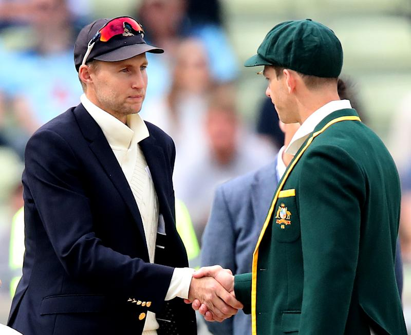England's Joe Root (left) and Australia's Tim Paine (right) shake hands at the coin toss during day one of the Ashes Test match at Edgbaston, Birmingham. (Photo by Nick Potts/PA Images via Getty Images)