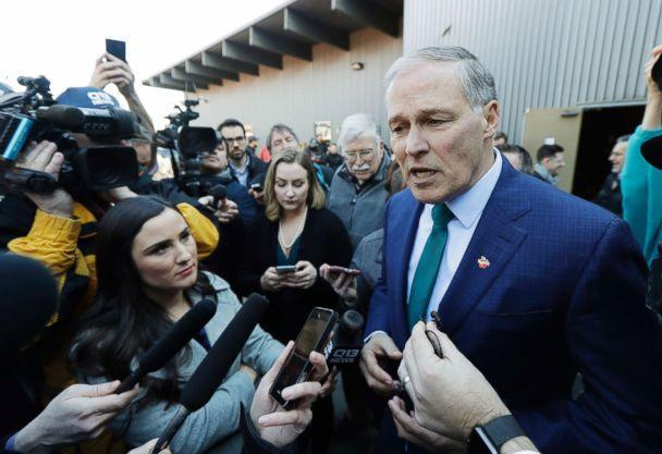 PHOTO: Washington Governor Jay Inslee answers questions from reporters after speaking at a campaign event in Seattle, March 1, 2019. (Ted S. Warren/AP)