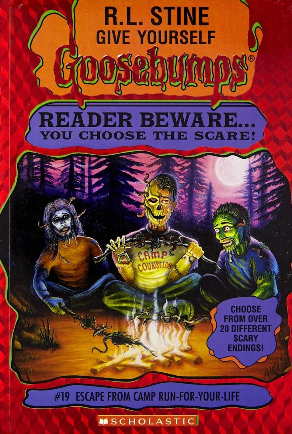 Photo of a book cover showing a half-skeleton man, zombie, and other creature, roasting snakes at a campfire