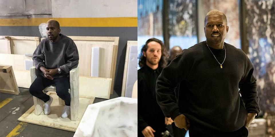 <p>A newly blonde Kanye made his first public appearance at an exhibit after his release from the UCLA Medical Center for exhaustion, sleep deprivation and a host of other issues. And then he went to NYC to meet with Donald Trump. <i> (Photos: Instagram/Getty Images/December 2016) </i> </p>