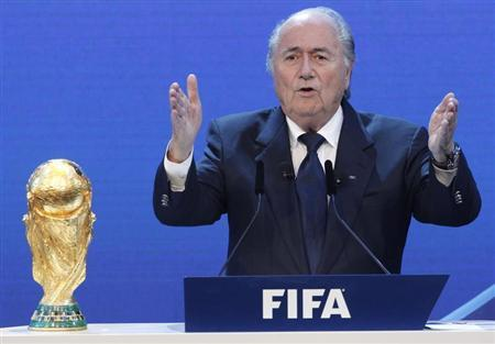 FIFA President Sepp Blatter gives a speech during the final presentation and the announcement of the host nations for the 2018 and 2022 FIFA World Cups in Zurich