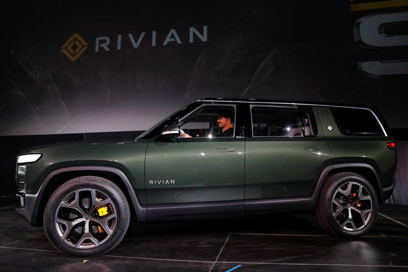 FILE PHOTO: Rivian introduces all-electric R1S SUV at LA Auto Show in Los Angeles, California