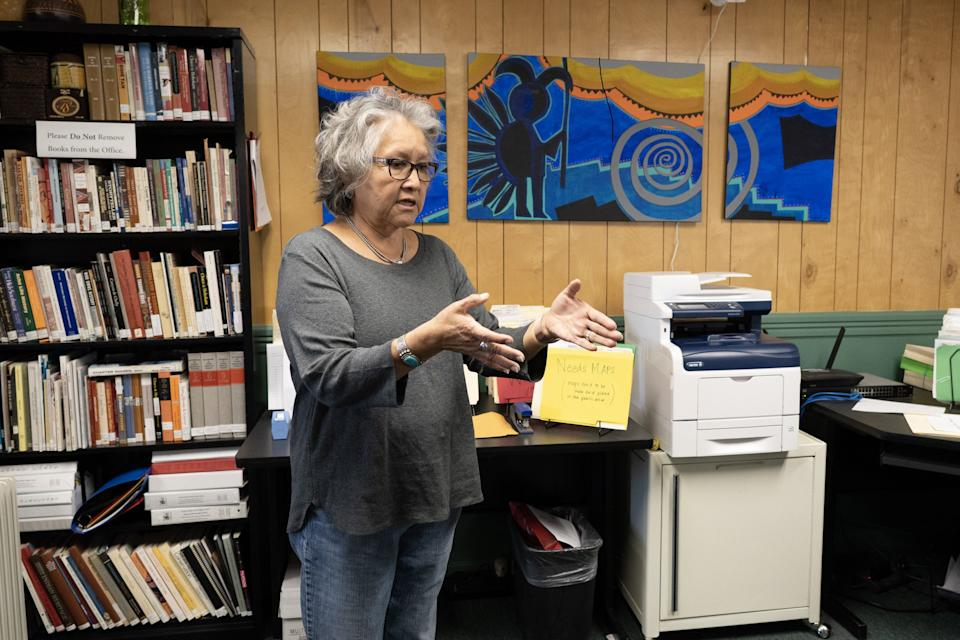 Rena Martin, a Navajo archaeologist and ethnographer, at the office of Dinétahdóó Cultural Resources Management. She founded the consulting firm to preserve tribal history, culture and the environment.