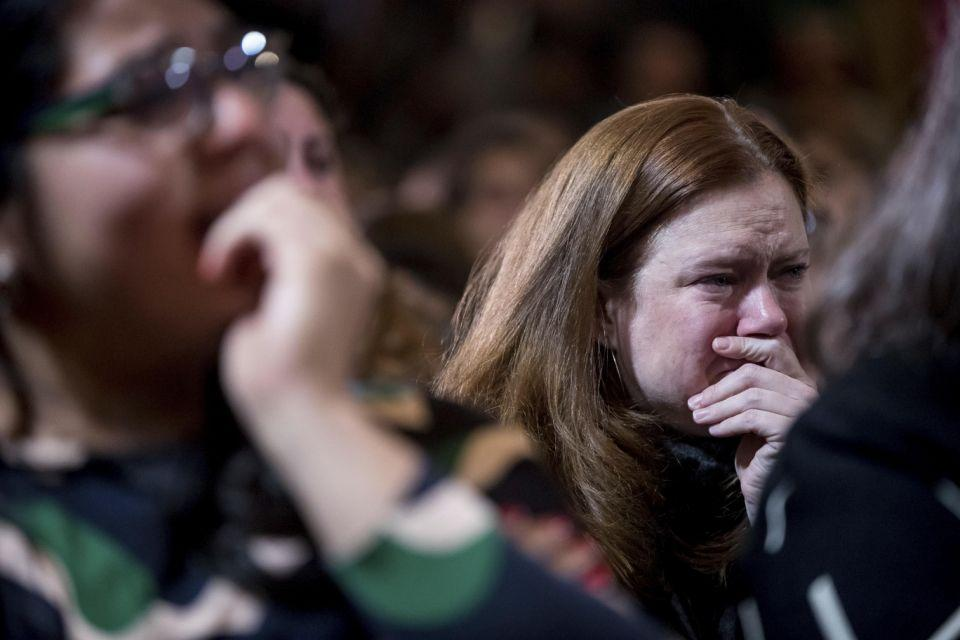 Hillary Clinton supporter responding to her loss to Donald Trump. Photo: AAP