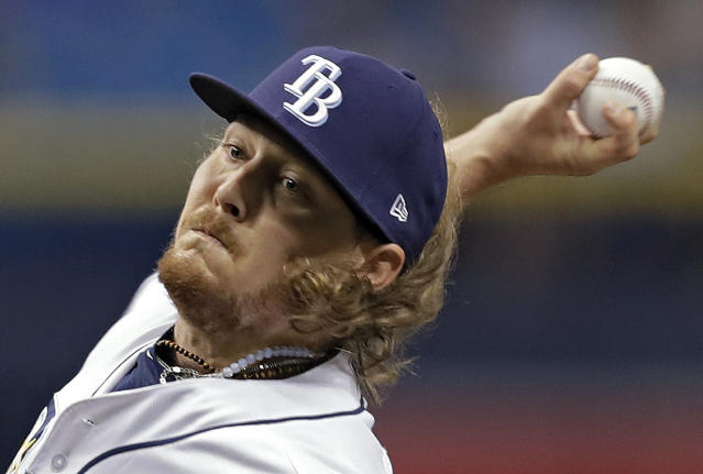 Tampa Bay Rays' Ryne Stanek pitches to the Toronto Blue Jays during the first inning of a baseball game Tuesday, June 12, 2018, in St. Petersburg, Fla. (AP Photo/Chris O'Meara)
