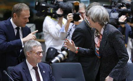 British Prime Minister Theresa May and EU Council President Donald Tusk attend the EU summit in Brussels