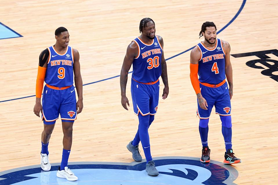 R.J. Barrett (9), Julius Randle (30), Derrick Rose (4) and the Knicks have won 12 of their last 13 games.