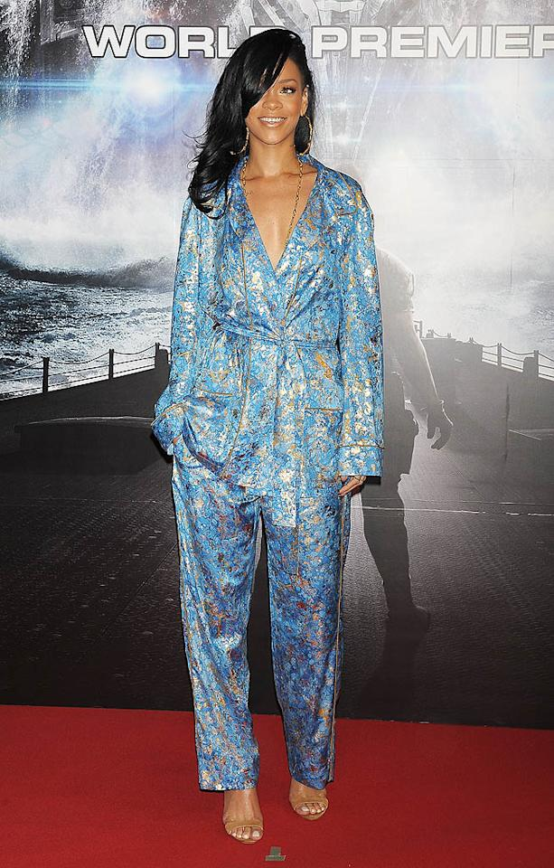 """Apparently, Rihanna rolled out of bed and headed straight to the """"Battleship"""" world premiere in Tokyo. Is her blue-and-gold pajama-inspired Emilio Pucci ensemble fashion forward ... or a fashion flop? (4/3/2012)"""