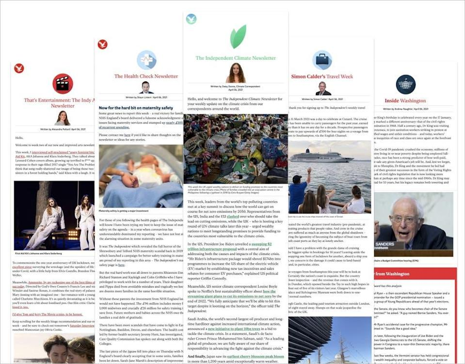 The Independent has a wide range of free newsletters that arrive in your inbox delivering you the latest news on your choice of topic (The Independent)