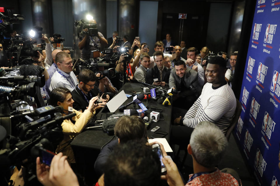 Zion Williamson, a freshman basketball player from Duke, attends the NBA Draft media availability, Wednesday, June 19, 2019 in New York. The draft will be held Thursday, June 20. (AP Photo/Mark Lennihan)