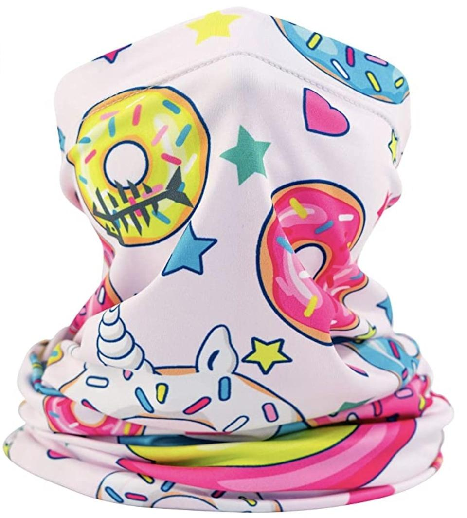 <p>Any doughnut-loving child will be excited about this <span>Bassdash Kids' UPF 50+ UV Protection Neck Gaiter</span> ($13). The breathable fabric is made to protect your child from the sun while slowing the spread of COVID-19. </p>