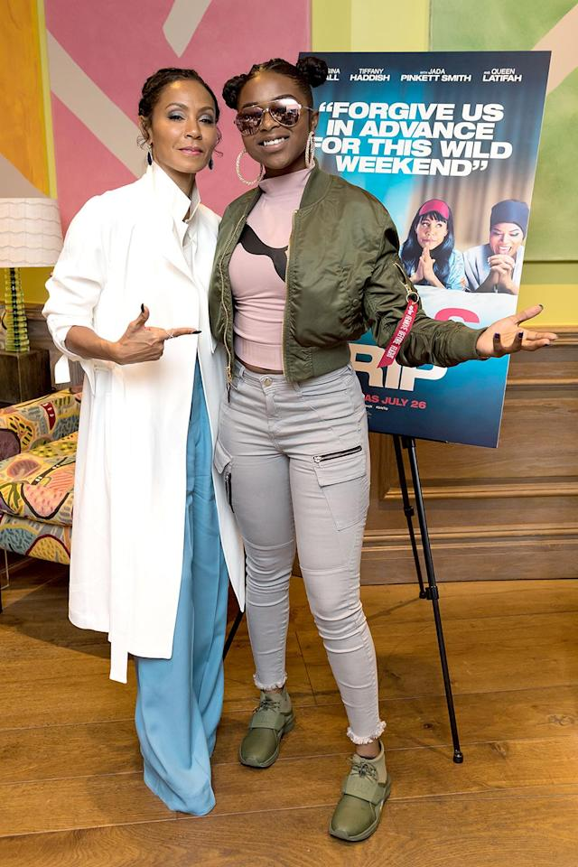 """<p>Rapper Rose was on hand at a London screening of <a href=""""https://www.yahoo.com/celebrity/jada-pinkett-smith-reacts-people-080200478.html"""" data-ylk=""""slk:Mrs. Will Smith;outcm:mb_qualified_link;_E:mb_qualified_link"""" class=""""link rapid-noclick-resp newsroom-embed-article"""">Mrs. Will Smith</a>'s new movie, <i>Girls Trip</i>. Everyone else is seeing it, too! The flick had the best opening weekend of any live-action comedy this year. (Photo: Ian Gavan/Getty Images for Universal Pictures) </p>"""