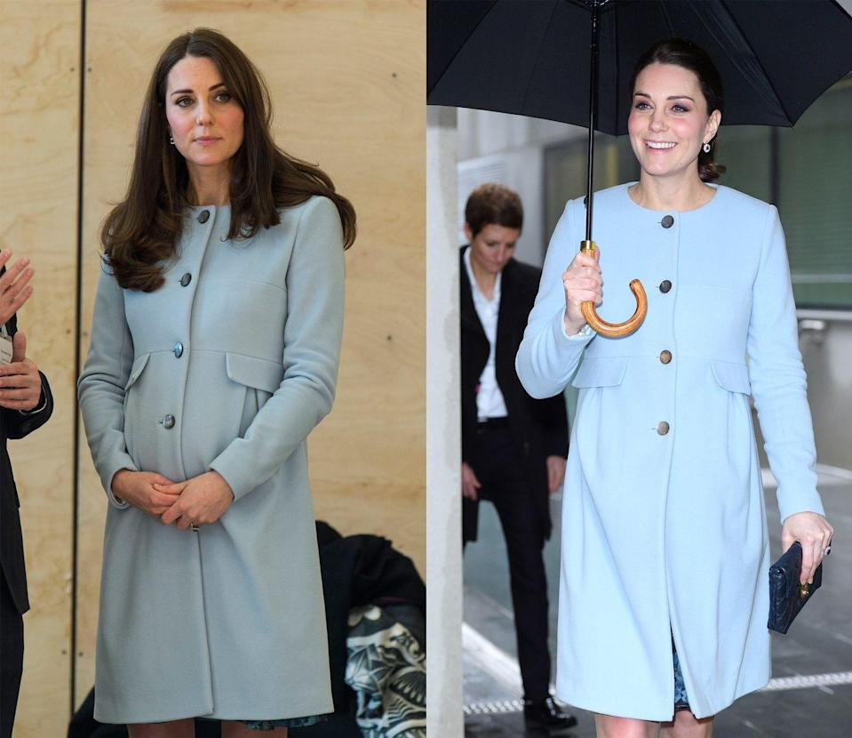 <p>For the opening of the Kensington Leisure Center in January 2015, pregnant Kate picked a baby blue Séraphine coat, which she brought back out for an appearance at Kings College in January 2018. </p>