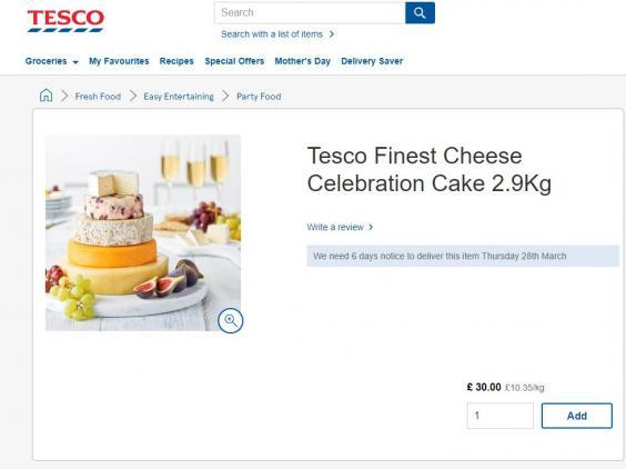 Tesco is selling a £30 wedding cake made entirely out of cheese