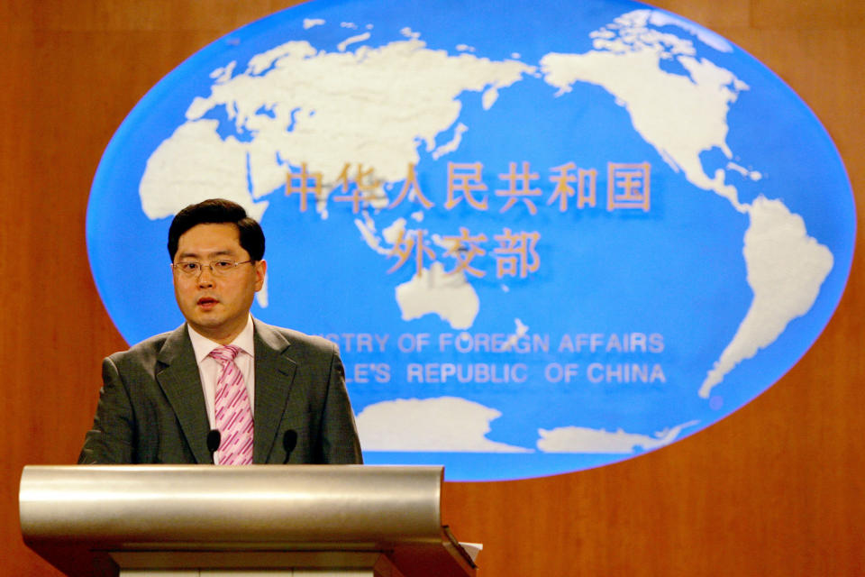 FILE - In tis July 5, 2007, file photo, then Chinese Foreign Ministry spokesman Qin Gang speaks at a media briefing in Beijing. Qin, China's new ambassador to the United States, outlined the challenges the two countries face in what has become an increasingly competitive and contentious relationship, while refraining from any criticism in short remarks after arriving to take up his new post on Wednesday, July 28, 2021. (AP Photo/Elizabeth Dalziel, File)