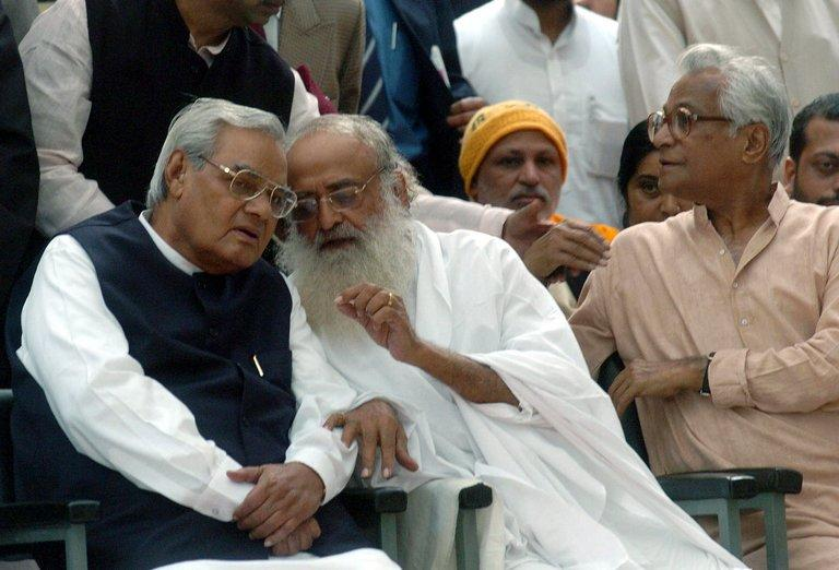 Self-styled godman Asharam (C) pictured at a rally in New Delhi on November 23, 2004